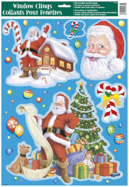 Christmas Window Clings Sheet (Assorted)